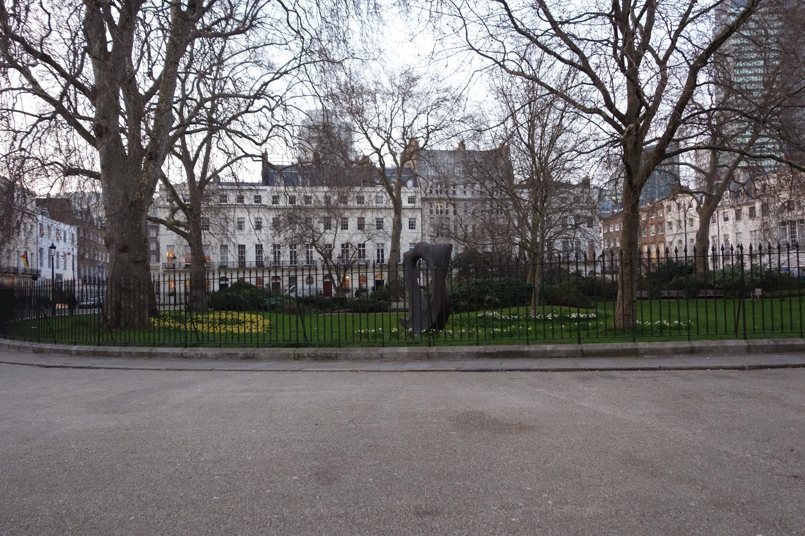 a green park or square in London