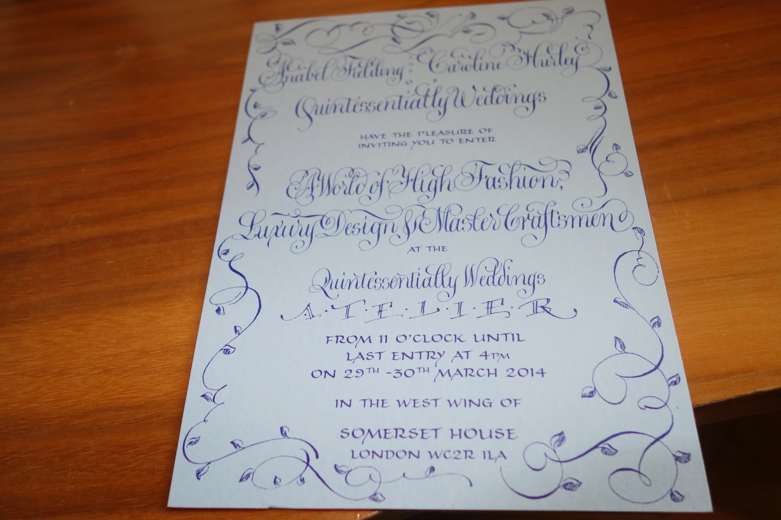 Invitation to Quintessentially Atelier