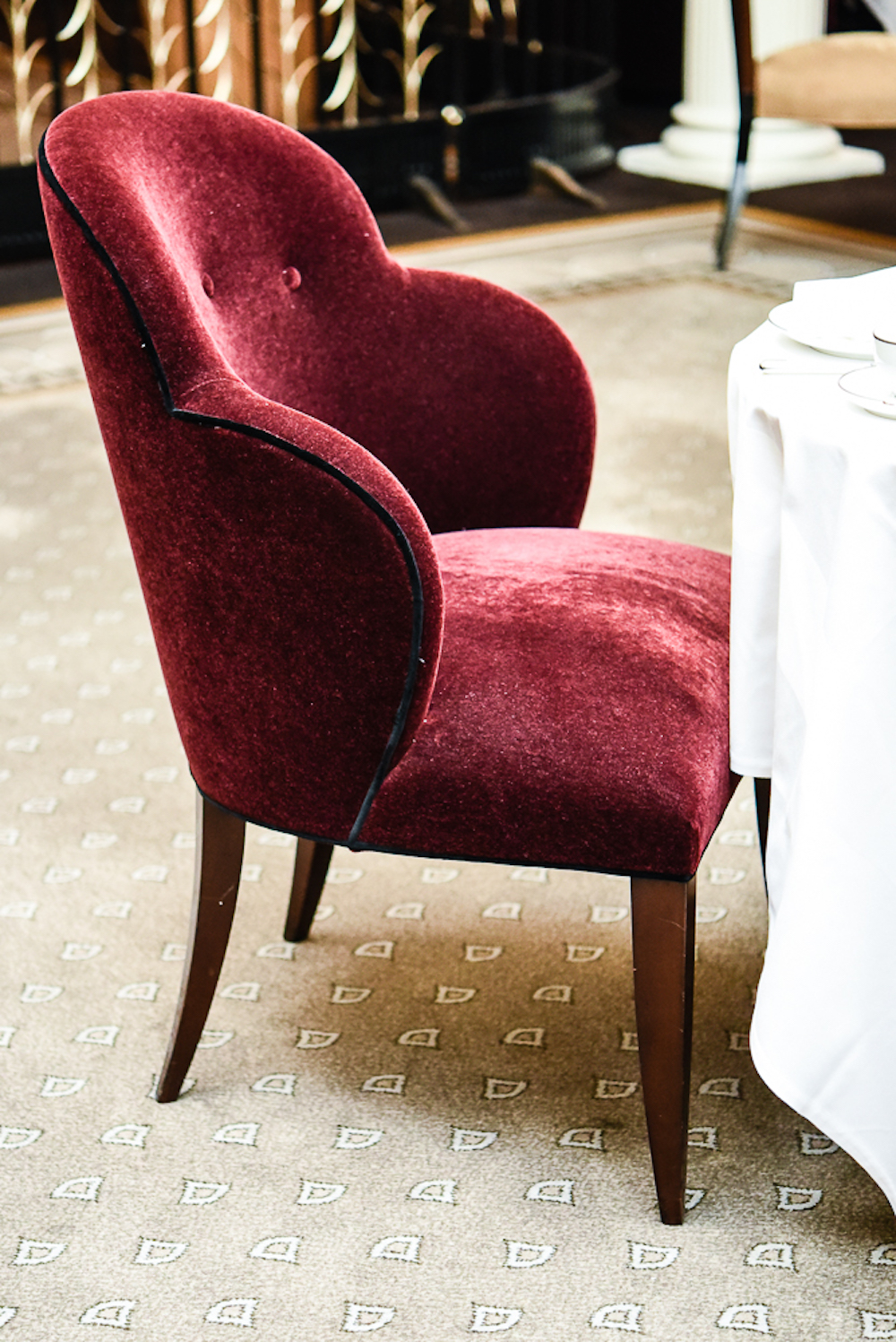 Bespoke chair, Georgian restaurant, harrods