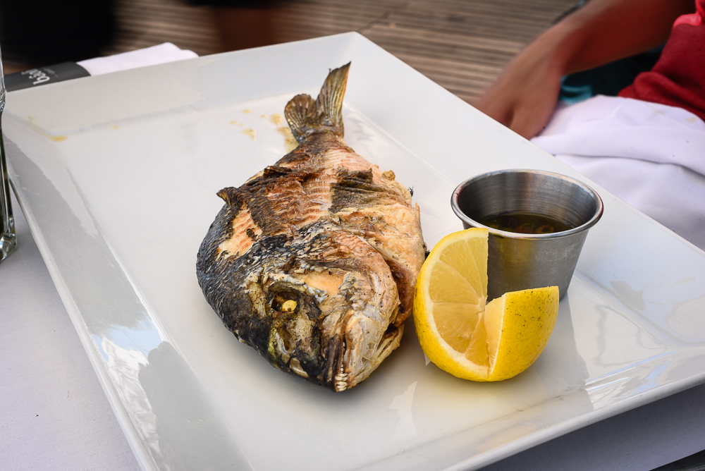 sea bass at Baoli beach club